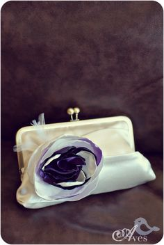 Cutest Bridal Wedding Day Purse EVER with purple rosette and feather. White clutch purse.
