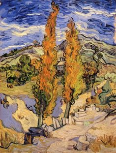 Vincent van Gogh:  Two Poplars on a Hill (1889) via The Athenaeum