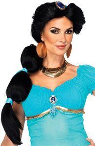 Jasmine Adult Wig w/ Ribbon Detail Jasmine And Aladdin Costume, Princess Jasmine Cosplay, Disney Princess Costumes, Costume Wigs, Cosplay Wigs, Halloween Wigs, How To Style Bangs, Womens Wigs, Black Hair