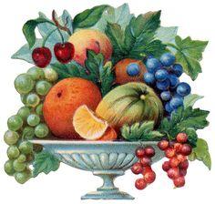 Free Victorian Flowers and Vintage Fruit Clip Art and Borders - Obst Victorian Bowls, Victorian Flowers, Vintage Flowers, Vintage Images, Vintage Art, Clipart Vintage, Pollen Allergies, Die Cut, Flower Clipart