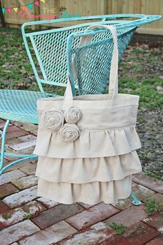 Natural Ruffled Tote Bag  by TheParsonageQueen, $25.00
