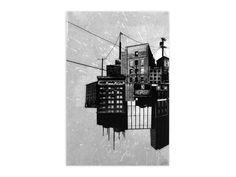 Bisco Smith Original Art - No Trespass - Original Artwork Willis Tower, Original Artwork, Graffiti, Fine Art Prints, Black And White, The Originals, Decay, Resin, Mixed Media