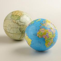 One of my favorite discoveries at WorldMarket.com: Blue and White Sphere Globes, Set of 2