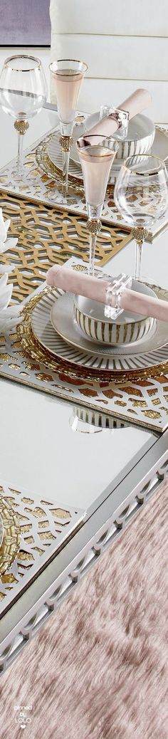 Blush Place Setting with Gold and White Prints and Textures
