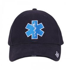 Deluxe Embroidered Star Of Life Low Profile Cap, Hat, Navy Blue