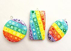 Look What Ive Made - Projects - Jewellery Making - 3 Polymer Clay Rainbow Pendants