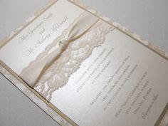 EMMALINE Beautiful Lace Wedding Invitations. via Etsy.