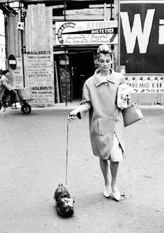 Audrey Hepburn, 1961...out walking her Yorkie!