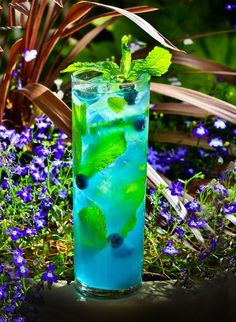 Wolf Berry Mojito - Luxory Hotel and Casino/Excalibut Hotel & Casino  - 1 1/2 ounces Bacardi Wolf Berry rum - 1 ounce Rock Candy syrup - 4 to 6 mint leaves - 1 ounce fresh squeezed lime juice - Muddle rock candy, mint and lime in a high ball. Stir in fresh blueberries and top with club soda.