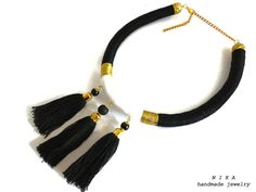 Black and white necklace Masai jewelry African necklace African jewelry Rope…