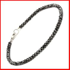 BLACK DIAMOND FACETED BEADS BRACELET
