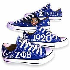 Not a Zeta but I love these custom Chucks so much! Black Fraternities, Greek Gifts, Phi Beta Sigma, Sorority Life, Sorority And Fraternity, Chuck Taylor Sneakers, Chuck Taylors, Royal Blue, Blue And White