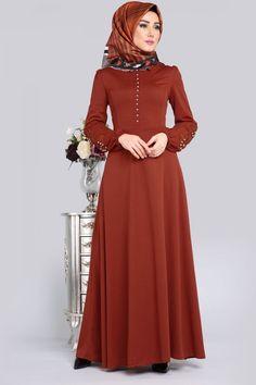 ** YENİ ÜRÜN ** Güpür İncili Tesettür Elbise Taba Ürün kodu: BİSS4214 --> 69.90 TL