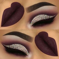 purple glitter cutcrease makeup with liquid lipstick eyeliner. - throp -Dark purple glitter cutcrease makeup with liquid lipstick eyeliner. Glitter Eye Makeup, Prom Makeup, Lip Makeup, Makeup Eyeshadow, Wedding Makeup, Eyeshadows, Eyeshadow Palette, Brown Eyeshadow, Fall Makeup