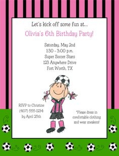 Soccer Birthday Party Invitations Personalized  Girl-soccer,birthday,personalized,party,  invitations,girl,Festivity Favors,soccer birthday party invitations