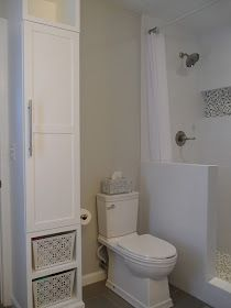 So glad our figured out how to have a walk on shower In our tiny ensuite!