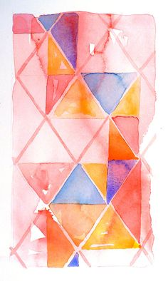 Abstract Geometric Art Watercolor Painting Men Women by LaBerge