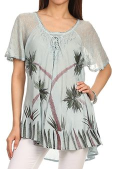 c085b27dce848 Sakkas Albina Island Relaxed Fit Embroidery Cap Sleeves Blouse / Top: Amazon.co.uk:  Clothing