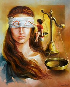 """""""Lady Justice learning to see through the eyes of a child. Save Water Drawing, Drawing Competition, Satirical Illustrations, Lady Justice, Poster Drawing, Indian Art Paintings, Beautiful Fantasy Art, Pastel Art, Surreal Art"""