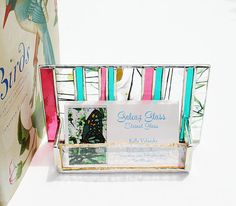 Hand-crafted stained glass business card holder--fabulous color!