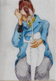青いコートのお姉さん(通勤電車でスケッチ) This is a woman of sketch wearing a blue coat. I drew in a commuter train.