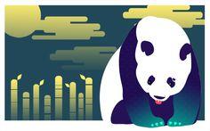 Panda and His Bamboo by chirashi #panda #bamboo #chirashi