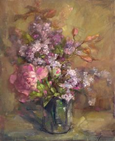 artist Barbara Schilling  Lilacs and Peonies  17x21  oc