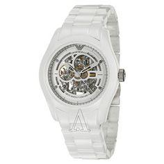 Buy Emporio Armani Men's AR1415 Ceramic White Skeleton Dial Watch Online armaniemporiowatches.co.uk