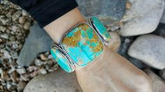 Ex-Large Sterling Silver 3 Stone Kingman Turquoise Cuff Bracelet | Unique & Stylish Sterling Silver Exotic Stone Jewelry