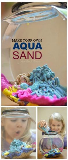 Make your own aqua sand- this stuff is SO COOL! Kids can build underwater castles and sea sculptures, and the sand comes out of the water DRY!