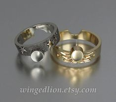 Sun and Moon ECLIPSE engagement wedding ring set in 18k 14k gold