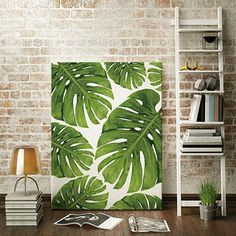Nordic palm leaf in decorative painting creative home frameless murals - Beautiful Woman Quotes Small Canvas Art, Easy Canvas Painting, Diy Canvas Art, Art Deco Wall Art, Wall Art Prints, Plant Painting, House Painting, Tropical Art, Painted Leaves