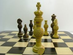 Beautiful Hand Crafted Solid Wood Globe Fret Weighted 5.5 inch King Chess Pieces -  (0)1278 426100 at chessbaron.co.uk Unusual and beautiful hand crafted chess pieces!