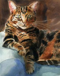Original Tabby Cat Art Painting Portrait Handmade 8x10 Watercolor