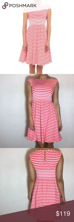"""KATE SPADE Leora Striped Dress Kate Spade Leora Striped Dress -Size XS. -Cap Sleeves. -38"""" length  -Back keyhole with button closure. -Unlined. -95% cotton, 5% elastane. -Excellent condition!  NO Trades. Please make all offers through offer button. kate spade Dresses"""