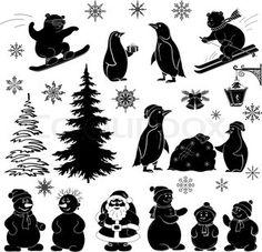 Christmas cartoon, set black silhouettes