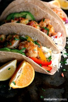 Rosemary Citrus Shrimp Tacos | Melanie Makes ((In my opinion, the rosemary might overwhelm the shrimp. I would skip it. -- crs))