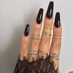 45 besten Sarg Nail Design-Ideen - the_nails_beauty - Acrylic Nails Coffin Ombre, Black Coffin Nails, Acrylic Nail Shapes, Square Acrylic Nails, Best Acrylic Nails, Square Nails, Long Black Nails, Long Nails, Short Nails