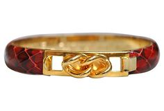 Italian Leather & 24k-gold-plated bangle, 7/27/14 $155, sold