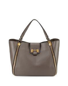 TOM FORD Sedgwick Medium Zip Tote Bag, Graphite. #tomford #bags #shoulder bags #hand bags #leather #tote #lining