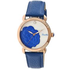 Bertha Daphne Flower Engraved Mother of Pearl Dial Blue Leather Strap Ladies Watch