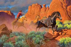 2014 Cowboy Artists of America. Price, Clark Kelley Final Stretch for Freedom Cowgirl And Horse, Cowboy Art, Western Cowboy, Cowboy Pics, Horse Artwork, West Art, Horse Drawings, Realistic Paintings, Le Far West