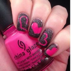Hot Pink and Black Valentine Nail Art.