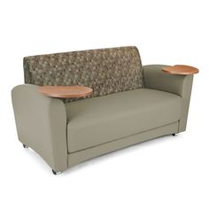 Interplay Series Sofa with Tablet Arm Plum with Taupe 822
