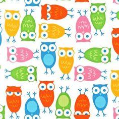 Owls in White by Ann Kelle Robert Kaufman by fancypantsfabric