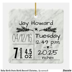 Baby Birth Stats Birth Record Christmas Photo Ceramic Ornament Baby Christmas Photos, Babys 1st Christmas, Baby First Christmas Ornament, Baby Ornaments, Diy Christmas, Christmas Cards, New Baby Gifts, Gifts For Family, Birth Records