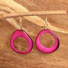 Purple Earrings - Tagua - Fair Trade Jewelry - Chunky Earrings - Tropical Earrings - Eco Friendly Earrings - Exotic Earrings 3480 by ArtisansintheAndes on Etsy