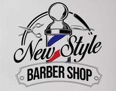 Logotype Barbershop New Style Barber Man, Barber Logo, Computer Logo, Barber Tattoo, Barber Apron, Barber Shop Decor, Barbershop Design, Door Stickers, Shop Logo