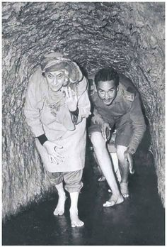 Indira Gandhi inside a tunnel