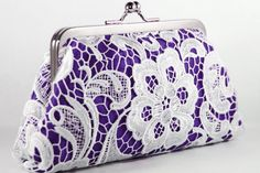 Bridal Bridesmaids White Lace Purple Clutch  8inch by ANGEEW, $60.00